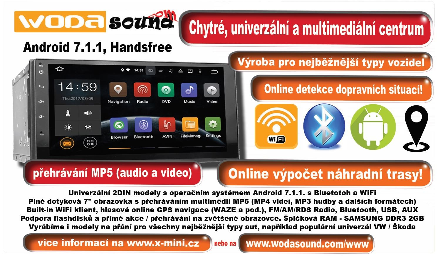 2DIN Universal smart multimedia centrum for your car with Androind 7.1