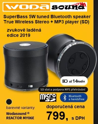 Wodasound ® REACTOR MY06E, laděný Exclusive Sport Super Bass Bluetooth reproduktor s MP3 přehráváním (SD slot)
